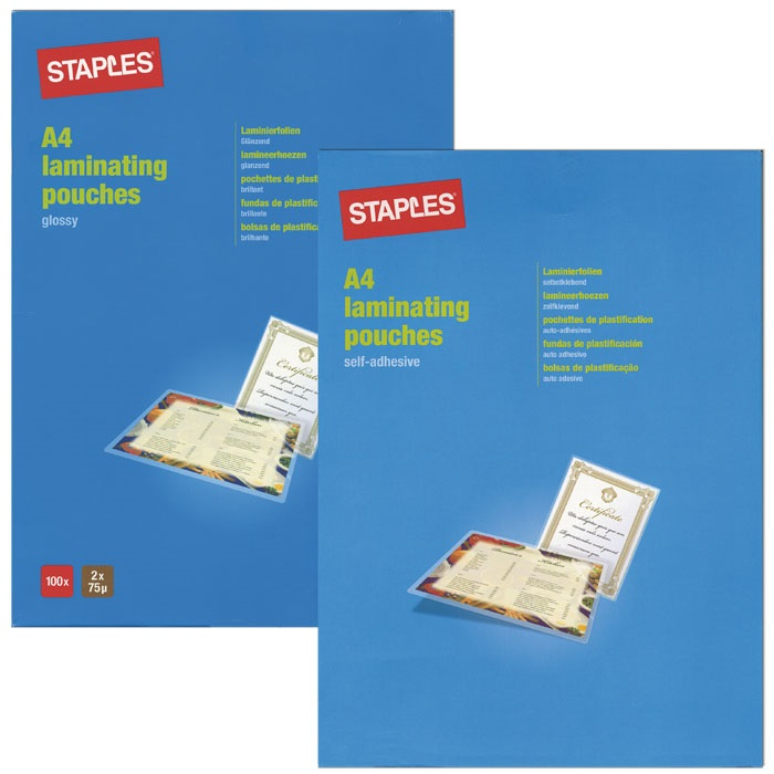 Staples Laminated transparent pockets 80 my, A4, 216 x 303 mm, self-adhesive