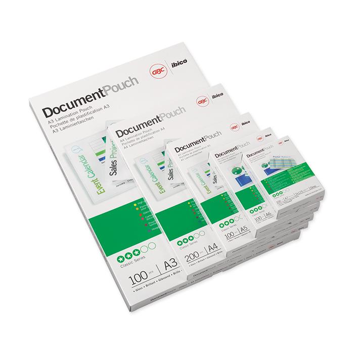 GBC Laminated transparent pockets DocumentPouch 125 my, A7, 80 x 111 mm