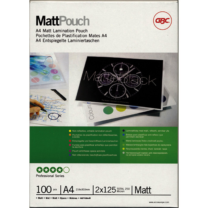 GBC Laminated transparent pockets MattPouch 125 my, A3, 303 x 426 mm