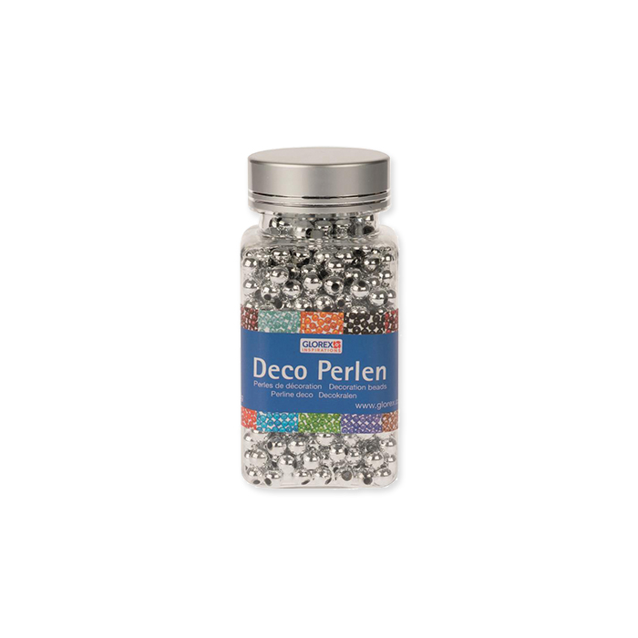 Glorex decorative beads 6 mm, siver