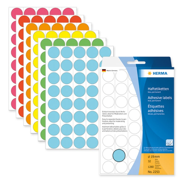 Herma Adhesive labels coloured round large pack