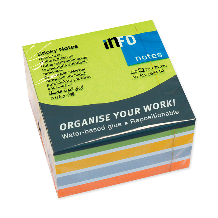 Info self-adhesive notes cube