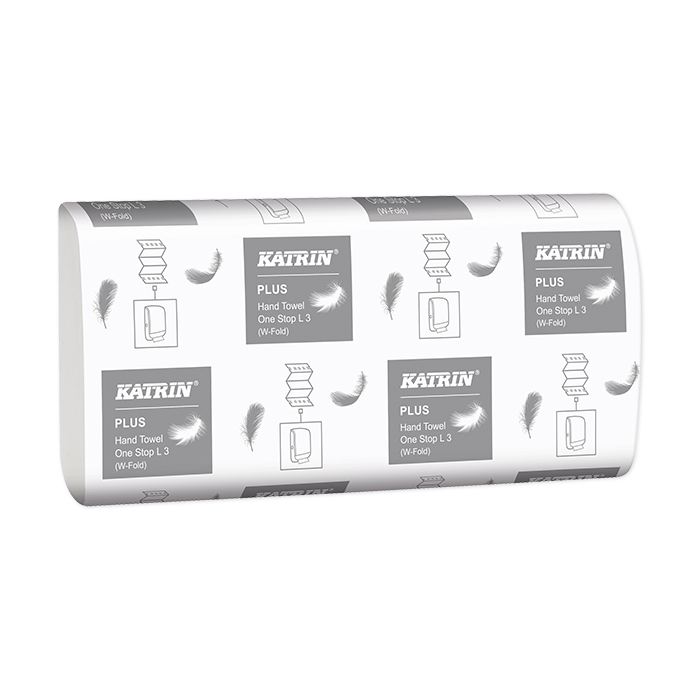 Serviettes pliées Katrin, Plus One-Stop L 3, pliure en W confort, 3 couches, 20 x 34 cm
