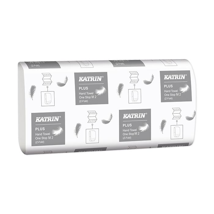 Serviettes pliées Katrin, Plus One-Stop M2, pliure en W confort, 2 couches, 23,5 x 25 cm