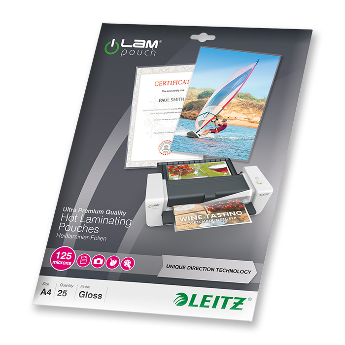 Leitz Laminating pouches iLAM 125 my, A4, 216 x 303 mm