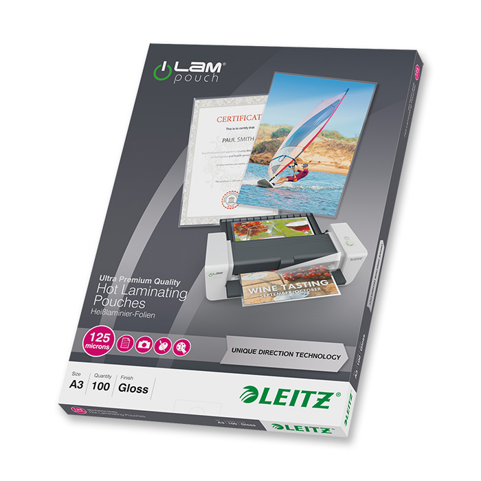 Leitz Laminating pouches iLAM 125 my, A3, 303 x 426 mm