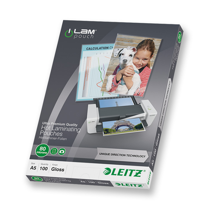Leitz Laminier-Folientaschen iLAM 80 my, A5, 154 x 216 mm