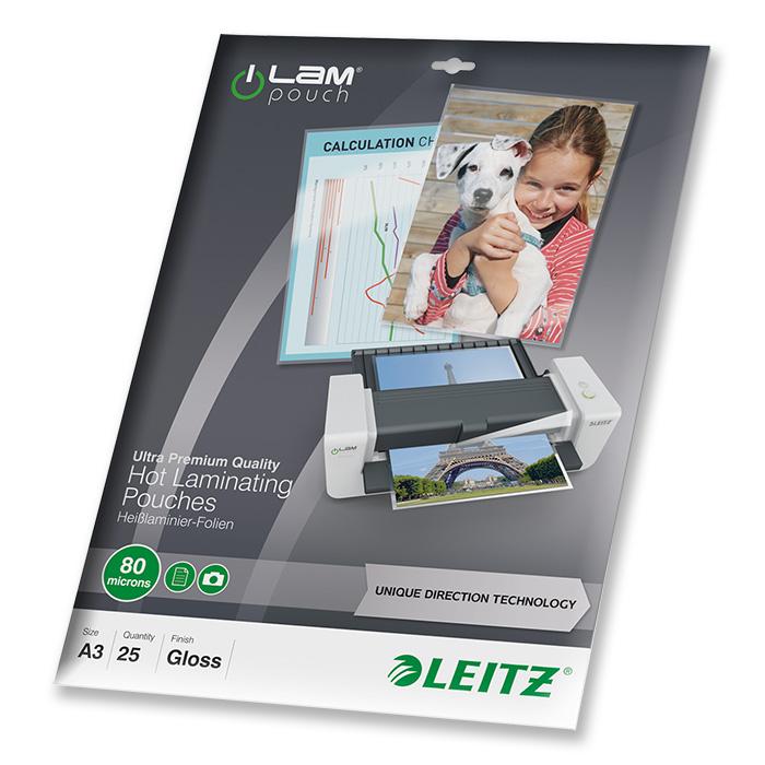 Leitz Laminier-Folientaschen iLAM 80 my, A3, 303 x 426 mm