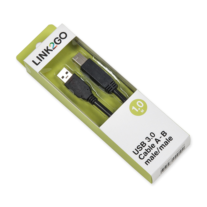 Link2Go USB-cable 3.0, A - B blister, male/male, 1 m