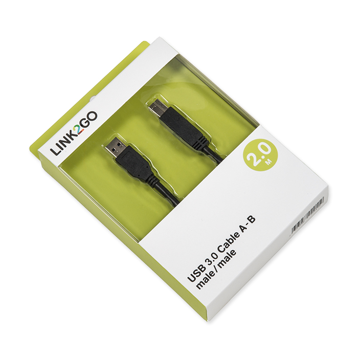 Link2Go USB-cable 3.0, A - B blister, male/male, 2 m