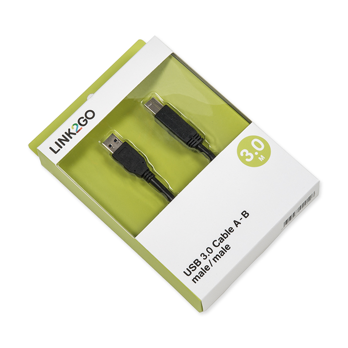 Link2Go USB-cable 3.0, A - B blister, male/male, 3 m
