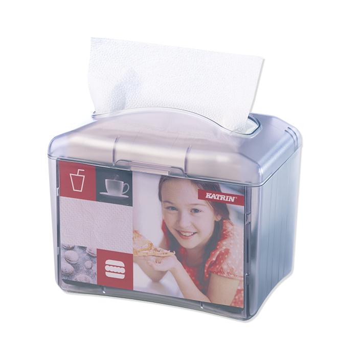 Katrin, dispenser per tovaglioli da tavolo trasparente / grigio