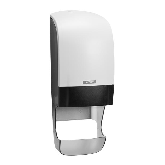 Katrin System Distributeur de papier toilette blanc, 40,2 x 15,4 x 17,4 cm, avec attrape-manches