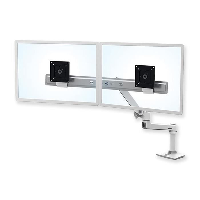 Braccio Ergotron LX diretto per doppio monitor bianco
