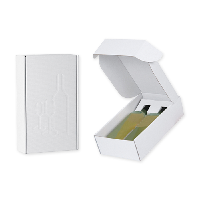 Brieger Gift packaging, open corrugation 344 x 190 x 91 mm, for 2 bottles, white