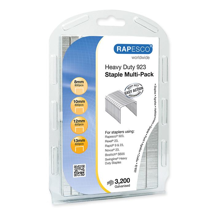 Rapesco Heftklammern Typ 923 Multi Pack - 800 x 8 mm, 10 mm, 12 mm & 13 mm