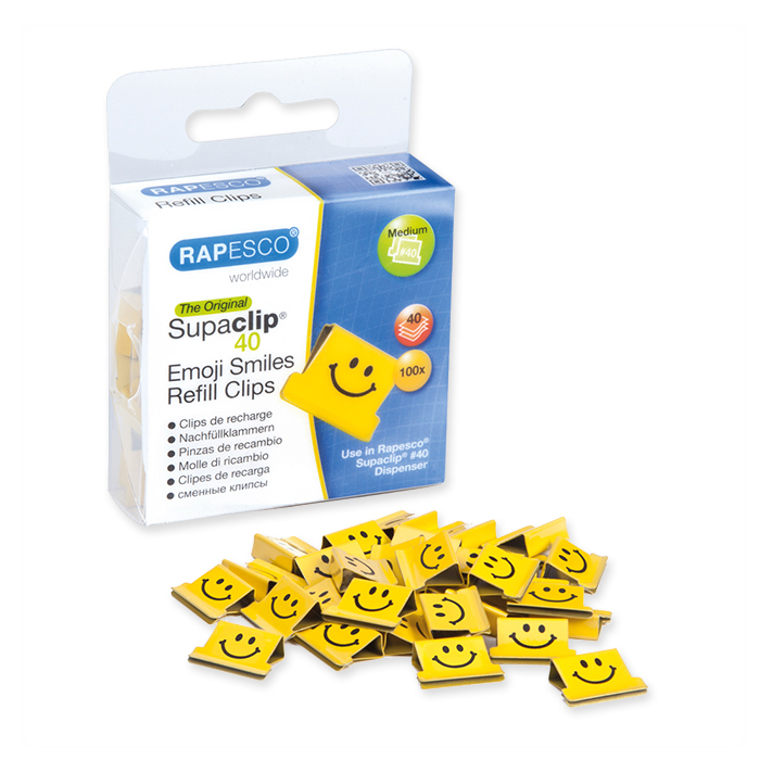 Rapesco Supaclip® 40 Nachfüllclips Emojis, gelb