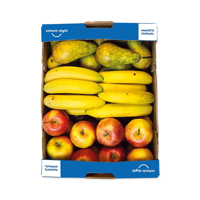 Schoch Vögtli Caisse de 3 fruits pommes, poires, bananes