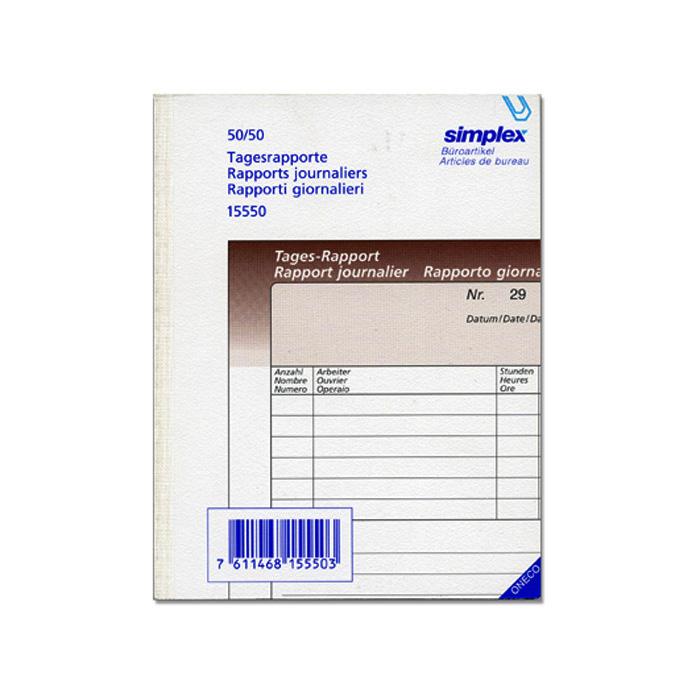 simplex daily report book a5 50 x 2 sheets online bestellen