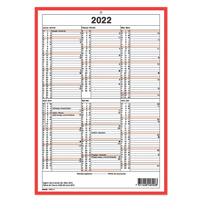 Simplex board calendar