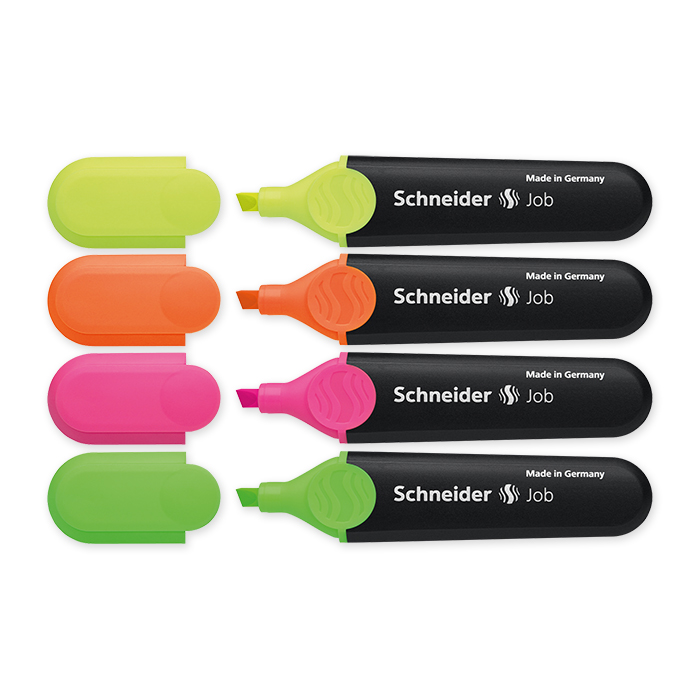 Schneider Highlighter Job Case in 4 colours: yellow, pink, orange and green