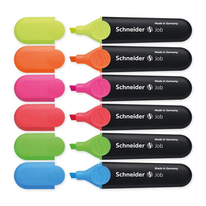 Schneider Highlighter Job Case of 6: yellow, pink, blue, green, red and orange