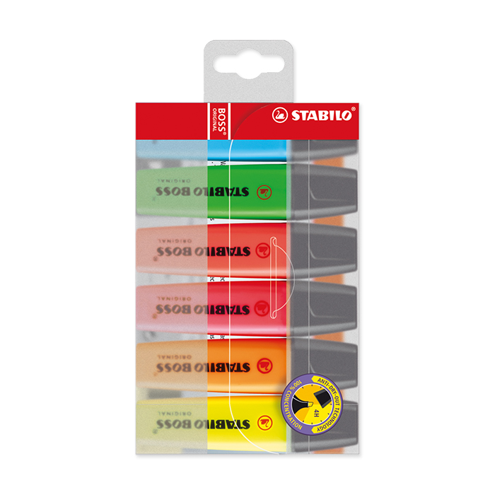 Stabilo Boss Original Highlighter Case of 6: yellow, green, red, pink, orange and blue