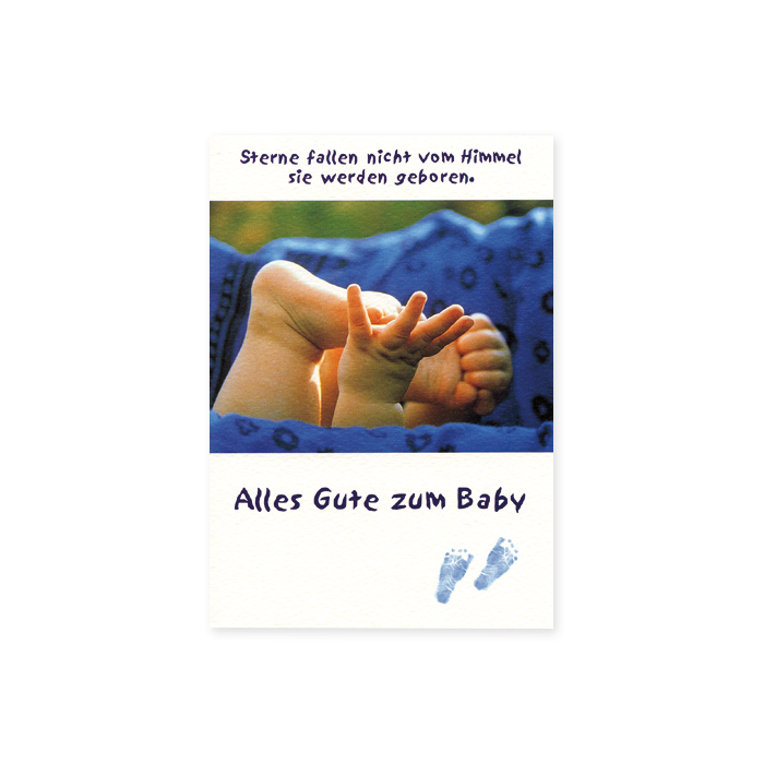 Tomato Greetings Card for birth - Baby's feet and hands